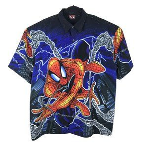 Vintage Spiderman Marvel 2001 Button Shirt XL